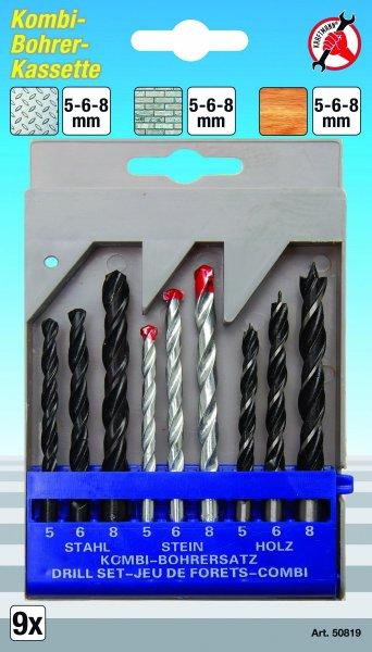 Borenset Combi 9dlg 5-6-8mm metaal/hout/steen